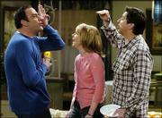 """""""Everybody Loves Raymond"""" cast members, from left, Brad Garrett, Monica Horan and Ray Romano perform during a taping of one of the final episodes on Jan. 13."""