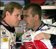 When they were Penske Racing South teammates, Rusty Wallace, left, and Jeremy Mayfield had a strained relationship and often would disagree on issues such as car setups.