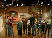 "The cast of ""Everybody Loves Raymond"" applauds at the taping of the final episode of the show at Warner Bros. Studios in Burbank, Calif. Cast members from left are Ray Romano, Patricia Heaton, Doris Roberts, Peter Boyle, Brad Garrett with his two children, Sullivan Sweeten, Madylin Sweeten and Monica Horan. The final episode will be shown at 8 p.m. Monday on Sunflower Broadband channels 5 and 13."