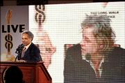 Philadelphia Mayor John Street speaks via satellite to Bob Geldof during a press conference where it was announced that Philadelphia would be one of five locations around the world to play host to a Live 8 concert.