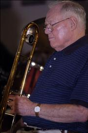 John Weatherwax   performs with the Jazzhaus Big Band during a Sunday afternoon set at the American Legion. He, Clyde Bysom and the late Don Scheid will be honored Wednesday evening at the Lawrence City Band concert in South Park.