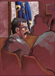 A courtroom sketch made Tuesday depicts Martin K. Miller, who is charged with murdering his wife.