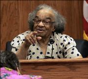 Fannie Lee Chaney, mother of murdered civil rights worker James Chaney, points at her youngest son, Ben Chaney (not pictured), while testifying Saturday as the last witness for the prosecution in the Edgar Ray Killen civil rights murder trial in Philadelphia, Miss.