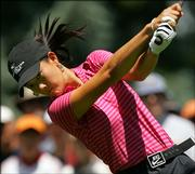 Fifteen-year-old Michelle Wie tees off on the second hole during the U.S. Women's Open. 