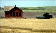 Jim Lee runs his combine near an abandoned school house on the Lincoln-Ottawa County line June 18 near Tescott.