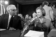 Supreme Court Judge Sandra Day O'Connor, right, and Sen. Barry Goldwater, R-Ariz., talk prior to the start of her confirmation hearings before the Senate Judiciary Committee on Capitol Hill, Sept. 9, 1981. O'Connor, the first woman appointed to the Supreme Court, said Friday she is retiring.
