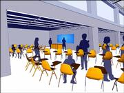 This architectural rendering shows a new South Junior High School with movable classroom doors and walls. The school's cost will be $26.5 million.