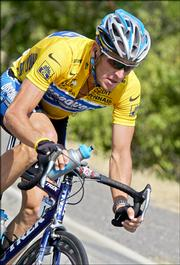 Lance Armstrong pedals during the 13th stage of the Tour de France. Amstrong leads by a comfortable margin as the race heads to the Pyrenees.