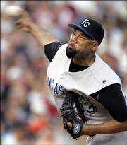 Kansas City's Jose Lima delivers against Detroit. Lima made an emergency start in place of D.J. Carrasco, but the Royals lost to the Tigers, 4-1, Friday night in Detroit.