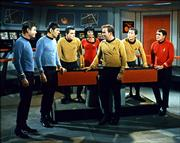"In this undated photo released by Paramount Pictures, James Doohan, far right, who played Scotty in the original ""Star Trek"" television series and movies is seen. Doohan died Wednesday at age 85. Cast members from left are DeForest Kelley, Leonard Nimoy, Walter Koenig, Nichelle Nichols, William Shatner, George Takei and Doohan."