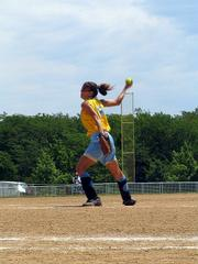 "Hummers pitcher Summer Mulford pitches during an American Fastpitch Assn. National ""B"" Tournament pool play game Wednesday at Youth Sports Inc."