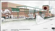 This rendering by GLPM Architects Inc. shows the planned east gym expansion at Lawrence High School. The $3.6 million project also will triple the size of the girls' locker room.