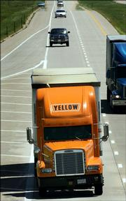 A Yellow Roadway truck travels south on Interstate 35 in Lyon County. Yellow Roadway Corp. on Thursday said second-quarter profit was up 62 percent.