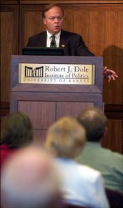 "Craig Shirley, author of ""Reagan&squot;s Revolution,"" speaks to the audience at the Dole Institute of Politics. He lectured and answered questions Thursday evening about Reagan&squot;s failed bid at the 1976 Republican presidential nomination."