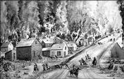A painting depicts Quantrill's raid on Lawrence. Quantrill and a band of men had been meeting in the hills southeast of Kansas City and making forays into Kansas. Quantrill attacked Olathe one night and stole considerable property. One person was killed. Most of the raids were for plunder, but the raid on Lawrence on Aug. 21, 1863, according to the Rev. Richard Cordley, was deliberately for slaughter.