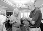 From left, Bill Hambleton, retired from the Kansas Geological Society, and Tom Eblen, retired general manager and news adviser for the University Daily Kansan, meet at the Adams Alumni Center.