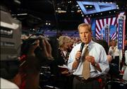 Peter Jennings does a report from the floor during the first day of the Republican National Convention in this Aug. 30, 2004, file photo from New York. Jennings died Sunday, just days after his 67th birthday on July 29.