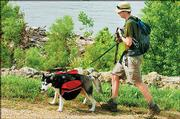 Wes O'Neal, a 24-year-old Kansas University student, hikes a trail along the Kansas River with his Siberian Husky, Freya. O'Neal tries to go hiking at least once a week.