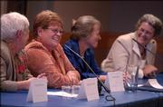 From Left, Deanell R. Tacha, Jane Ann Reece Ewy, Saralyn Reece Hardy and Mary Lou Reece participate in Thursday's Women's Club program at the Kansas Union.