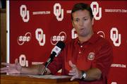 Oklahoma coach Bob Stoops gestures while talking with the media Tuesday in Norman, Okla. The seventh-ranked Sooners will play their season opener today against TCU.