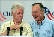 Former Presidents Clinton and Bush announce a fund for victims, similar to the one they spearheaded after the Asian tsunami.
