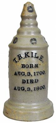 This grave marker with the suspicious birth and death dates was a salesman's sample and was never used to mark a grave. The 12-inch-high stoneware marker, probably from Tennessee, was sold at Crocker Farms Auctions of Riderwood, Md., for $8,800.