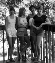 A snapshot taken during a 1982 trip to Colorado of, from left: Judy Denton Tudor, Nancy Maloney Rich, Carole Hadl and Carol Sullivan Wohlford, all 1963 graduates of Lawrence High School.