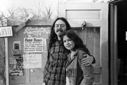 Poet Jim McCrary and Artist Lee Chapman, circa 1970, stand at the doorway of the Tansy Bookstore, 12th and Oread. The bookstore was a familiar hangout for poets and artists in those years. Both are featured in the Lawrence issue of Black Spring, a New York-based journal of poetry and essays.