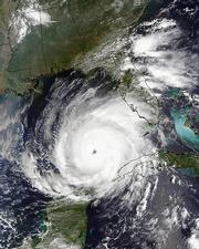 This satellite image taken by NASA's MODIS Rapid Response System early Wednesday afternoon shows Hurricane Rita over the Gulf of Mexico. Gaining strength with frightening speed, Hurricane Rita swirled toward the Gulf Coast as more than 1.3 million people in Texas and Louisiana evacuated.