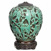 This 24-inch-high lamp base showing green lovebirds is unmarked, but it was probably made by the Muncie Pottery Co. of Muncie, Ind. It sold for $431 at a Treadway Gallery auction.