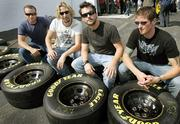 Nickelback members, from left, Mike Kroeger, Chad Kroeger, Ryan Peake and Daniel Adair sit for a photo at Richmond International Raceway. The Canadian group has high expectations for its new album.