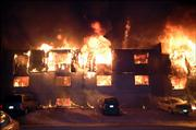 An early morning fire Friday at Boardwalk Apartments, 524 Frontier Road, left several buildings destroyed and many residents homeless. Area fire departments from Lenexa and Olathe as well as emergency medical units from Johnson County came to Lawrence to assist.