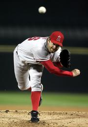 Los Angeles' Paul Byrd delivers against Chicago. Byrd allowed two runs in six innings, and the Angels defeated the White Sox, 3-2, Tuesday night in Chicago.