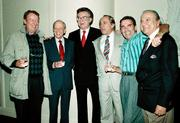 "Steve Allen, third from left, and some of the original cast members of the popular 1950&squot;s television show, ""Steve Allen Show,"" gathered in Beverly Hills, Calif., in this Oct. 4, 1990, file photo to honor Allen and to celebrate the re-broadcast of 100 episodes of his show on HA! TV Comedy Channel. They are, from left: Tom Poston, Don Knotts, Allen, Louis Nye, Pat Harrington Jr., and Bill Dana. Nye died Sunday at his home in Los Angeles after a long battle with lung cancer, his son said."