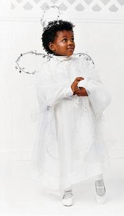 Clever parents can turn a curtain panel into an angel costume.