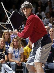 Nick Collison acted out as volatile coach Bob Knight at Late Night 2002.