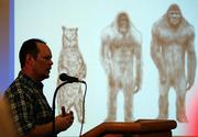 Daryl Colyer, lead field researcher for the Texas Bigfoot Research Center, delivers the kickoff presentation Saturday at the Texas Bigfoot Conference in Jefferson, Texas. Hundreds gathered Saturday at the fifth annual Texas Bigfoot Conference to look at casts of footprints and hear about the latest sightings and other evidence they say proves Bigfoot exists.