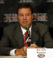 Kansas University basketball coach Bill Self addresses questions during Big 12 Media Day. Self met the press Wednesday in Dallas.