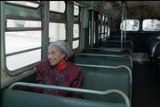 Civil rights pioneer Rosa Parks sits in a 1950s-era bus in Montgomery, Ala. in this photo from Dec. 2, 1995, some 40 years after being arrested for refusing to give up her seat on a city bus to a white person.