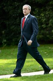 """President Bush leaves the White House on Friday for Camp David. Bush says he&squot;s saddened by the indictment of I. Lewis """"Scooter""""  Libby, who resigned as Vice Presi-dent Dick Cheney&squot;s chief of staff."""