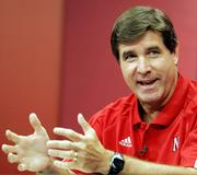Nebraska coach Bill Callahan gestures during a news conference in this file photo from Aug. 30 in Lincoln, Neb. Under fire for apparently making a throat-slashing gesture toward an official in the Huskers' loss Saturday to Oklahoma, Callahan says he isn't worried about being disciplined.