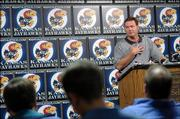 KU men's basketball coach Bill Self discusses the starting lineup during his weekly news conference. Self met the press Monday at Hadl Auditorium.