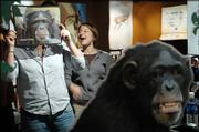"Erin Passman, of Lawrence, laughs as Allison Hughes, of Overland Park, places a see-through picture of a female chimpanzee over her face at the ""Explore Evolution"" exhibit at the Kansas Museum and Biodiversity Center at Kansas University. Evolution will be the hot issue today as the State Board of Education will discuss the teaching of evolution and intelligent design in Kansas public schools."