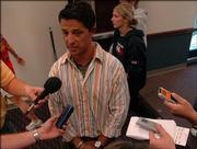 Kansas University soccer coach Mark Francis talks with members of the media after the NCAA Tournament selection show. Monday, the Jayhawks learned they were left out of the 64-team field.