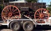 One of the first wagons Don Werner made sits on a trailer at his home in Horton.