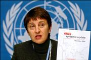 Canada's Deborah Landey, the new deputy executive director of the United Nations program on HIV/AIDS, UNAIDS, presents a copy of the AIDS epidemic update December 2005 report during a presentation at the United Nations on Monday in Geneva.