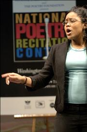 Portia Williams, a 12th-grader at Bell Multicultural High School in Washington, D.C., recites a poem at the Washington regional finals for a national contest in April 2005. This was a pilot program, with competitions also in Chicago, for Poetry Out Loud: The National Recitation Contest, which the National Endowment for the Arts and the publisher of Poetry Magazine have now organized into a national poetry-reading competition for high school students.
