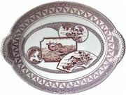 The Thanksgiving turkey can arrive at the table on this transferware platter made in England about 1880. The asymmetrical pattern is typical of the Japanese-inspired decorations of the time. The platter sold at Brenda's Treasures at RubyLane.com for $200.