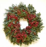 California floral designer Jerry Bolduan created this wreath using pepper berry and seeded eucalyptus for Cherie Yvette Flowers in Lawrence.