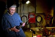 Thelma Baldock, 85, of Delphos, readies her welding equipment Nov. 9. Baldock moved to Portland, Ore., during World War II to work as a welder in St. John's Shipyard.